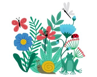 8x8 Square Creepy Crawlies botanical art print | Nature bugs wall art | flower & plant illustration | fun kids home decor |  gift | frog