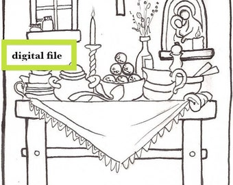 Domestic Altar digital file greeting card design, devotional card