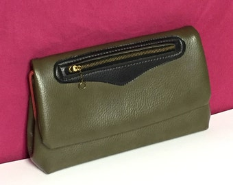 Olive Green Purse, Fold Over, Clutch Handbag