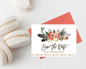Bohemian Save The Date Printable Boho Chic Wedding Save The Date Card Coral Floral Save The Date Invite Tribal Boho Save The Date Feathers