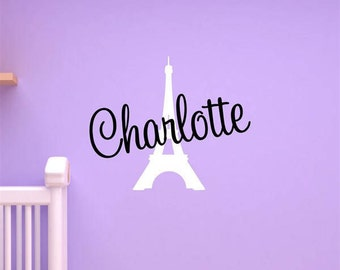 Custom Name & Eiffel Tower Vinyl Decal Set | Home, Bedroom, Wall Art, Children's Decals 22.25x18.5 | 40+ Colors Available! Quick Ship!