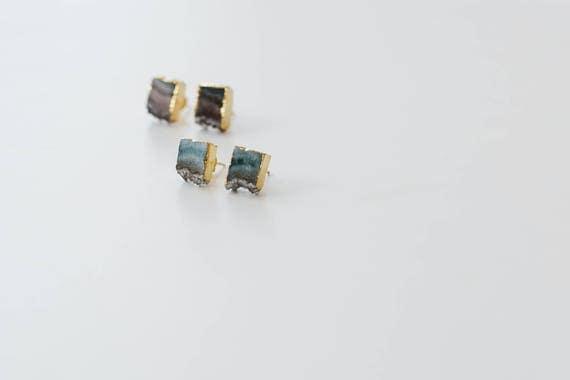 Amethyst Slice Stud // druzy silver gold plated amethyst geode slice stud post earring