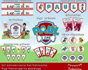 Paw Patrol party package customized