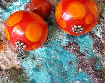 Art Glass & Coral Earrings~Orange Coral~Sterling Silver 925~Handmade Artisan Earrings~Gemstone Glass~Vintage Jewelry~JewelsandMetals.