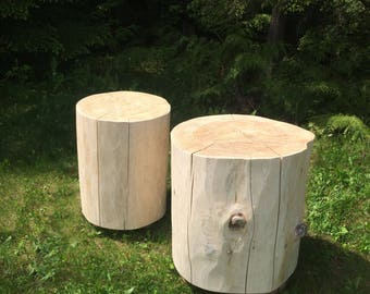 Reclaimed Whitewashed Or Natural Cedar Stump   Large Size, End Table, Cedar  Log Side