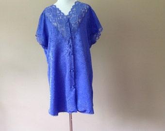 L / Vintage Sleep Shirt / Vintage Sleepwear Lingerie by Val Mode  / Large / FREE USA Shipping