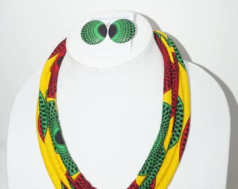 Yellow African Print Rope Necklace