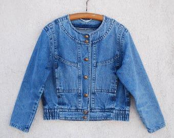 Vintage Bogner Blue Denim Women's Jacket Bogner Blazer Jeans Jacket Metal Buttons Medium Size