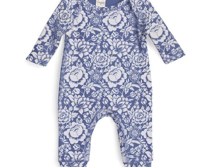 Baby Girl Romper Blue Floral, Baby Girl Blue Bodysuit, Infant Girl Onesie, Newborn Baby Girl Blue Flowers Romper Tesababe