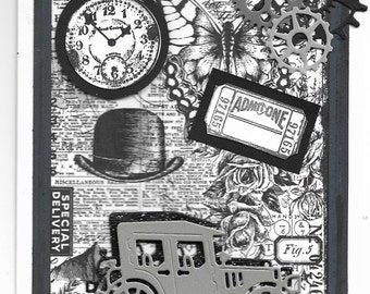 steampunk old car hat gears car clock handmade greeting card