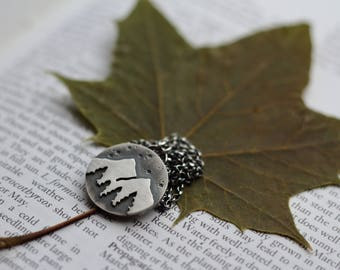 Mountain and Forest Necklace. Silver Necklace. Scenery. Landscape. Nature. Woodland. Wanderlust. Travel.