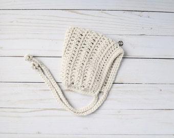 Cream Pixie Bonnet, Pixie Bonnet, Crochet Pixie Bonnet, Knit Pixie Bonnet, Crochet Bonnet, Baby Gift, New Baby Gift, Newborn Gift, Baby Hat