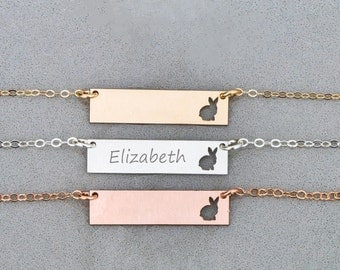 Bunny Necklace • Cute Rabbit Necklace Bar Jewelry • Cute Jewelry Bunny • Rabbit Charm • Cute Pet Gift • Bunny Personalized Rabbit