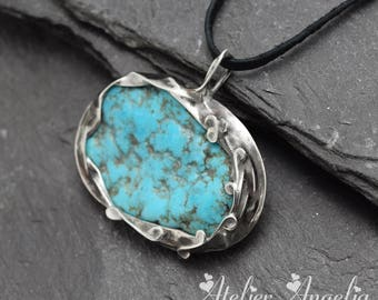 Turquoise pendant,Sterling silver necklace,Stone Pendant,Turquoise stone,Metalwork pendant,Women pendant,Turquoise necklace
