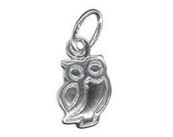 9 mm Owl Charm Pendant 925 Sterling Silver British Made #s4