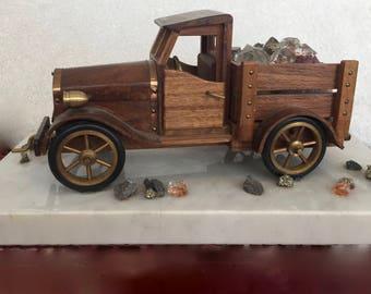 Truck with Crystals & Rock Vintage Sculpture