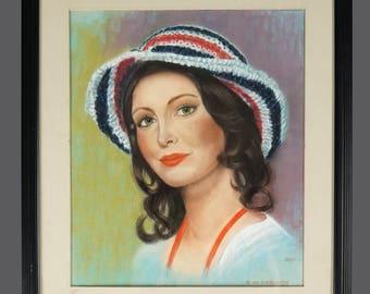 Woman Portrait Pastel Drawing Mid Century Modern MCM MOD Decor Vintage Art