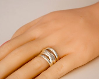Sterling Silver Ring, Sterling Silver Crossover Ring