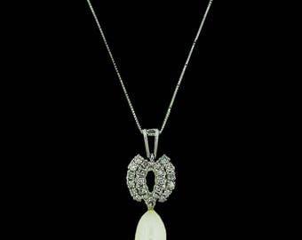 Ladies Drop Pearl and Diamond Pendant
