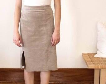 Vegan Suede Pencil Skirt