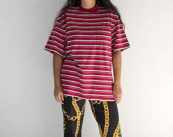 90s Red Striped Pocket Tee/ Small-XLarge