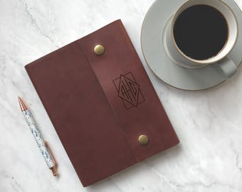 Diamond Monogram Engraved on Personalized Leather Notebook Cover, Handcrafted Journal for Men, Personalized for Him; Journal for Men, S37