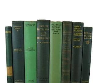 Antique Books, Farmhouse Decor, Green Decorative Books , Vintage Photo Props ,  Wedding Decor , Home Decor , Old Book Lover,  Green  Decor