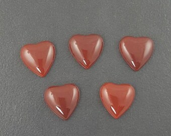 Carnelian Heart Cabochon, 15x15mm, calibrated, carnelian cab, carnelian, carnelian cab, carnelian cabochon, red stone,small heart