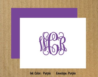 Interlocking Stationery, Set of 50, Monogram Note Cards, Fancy Monogram Note Cards, Interlocking Monogram, Thank You Cards, Monogram