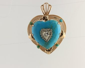 Big 1 only .46ct Heart Shape .26ctw Round Diamond Turquoise 14k Gold Pendant