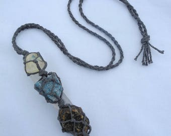 Obsidian Apatite Amber Hemp Macrame Talisman necklace