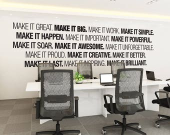 Office Wall art - Corporate - Office supplies - Office Decor - Office art - Typography Decal - Office Sticker  - Office Sign - SKU:MIB