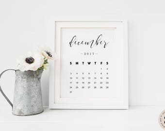 December Calendar 2017 Print — Pregnancy Announcement Printable Wall Art Newborn Print Black And White Monthly Calendar INSTANT DOWNLOAD
