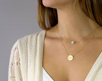 Dainty Gemstone Necklace, Gem Necklace, Delicate Bead Necklace, Gold Layering Necklace, Choker Necklace, Amazonite, Larimar, Gift for Her