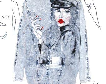 Vintage Denim Jacket 80's Acid Wash Hand - Painted