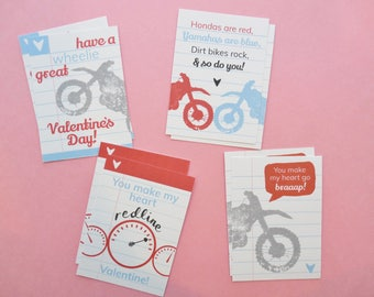 Dirt Bike/Motocross/Motorcycle Printable Valentines Day Cards for Kids