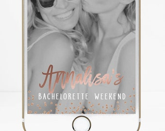 Snapchat Geofilter Bachelorette Party Filter, Bachelorette Snapchat Filter, Bachelorette Geofilter, Hen Party, Rose Gold Confetti, Sparkly