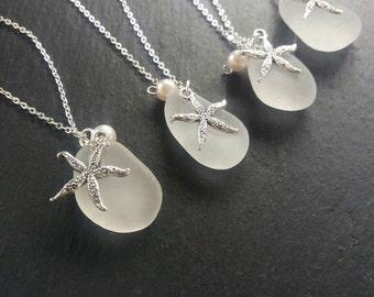Sea Glass Jewelry Sea Glass Necklace Bridesmaids Necklace Beach Glass Necklace Charm Necklace Mermaid Jewelry Beach Wedding Irish Sea Glass