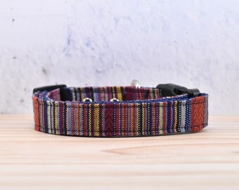 BOHO stripe pattern Dog Collar  / hippie, Bohemian, Mexican / adjustable / melodys pet collars