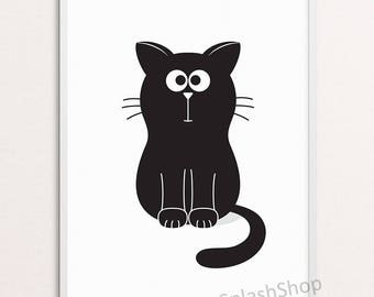 Cat Nursery print Kids art printable Black and white nursery Monochrome baby bedroom wall decor Childs room decor Cute Kitten poster Animal