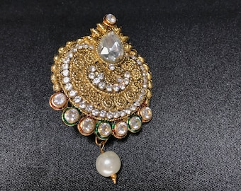 Indian Saree Pin - Saree Brooch - Indian Bridal - Indian Jewelry - Indian Accessories - Indian Wedding - Bollywood Jewelry - Gold Silver Pin
