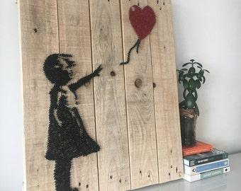 Banksy Girl with Balloon - String Art - Reclaimed Pallet Wood Wall Art - Handmade