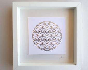 Flower of life art print on foil, Sacred geometry wall art design, paper wall art, silver print paper collage, friend gift, yoga print gift