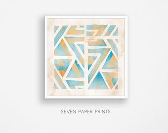 Geometric painting. Abstract painting print. Geometric art print. Triangle art. Watercolor prints. Geometric pattern. Digital print. Grunge
