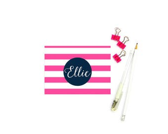 Striped Note Cards, Stationary Woman, FOLDED Stationary Personalized Stationary Note Cards, Pink Stationary Set, SET of 10 with Envelopes