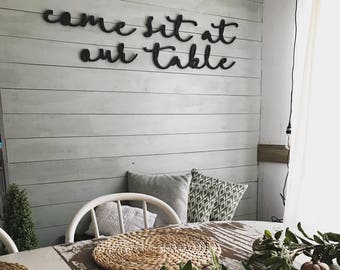 Come Sit At Our Table Dining Room Word Wood Cut Out Wall Art Decor