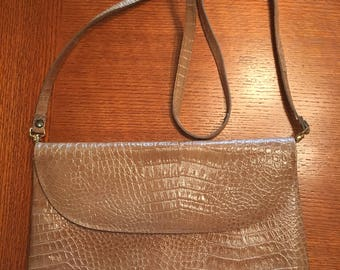 Tan leather reptile clutch crossbody handbag purse