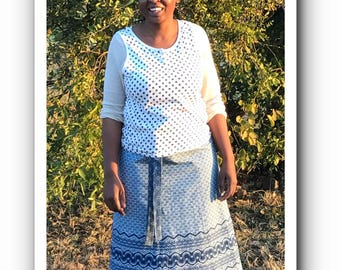 "Traditional South African Indigo Shweshwe wrap skirt waist 1,39 mtr (54,5"")"