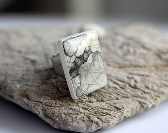 ORIGINAL Statement Ring - Polygons // Modern Hand Painted Ceramic Ring, Minimalism Personalized Gift, Earth Art Hand Prints On Clay