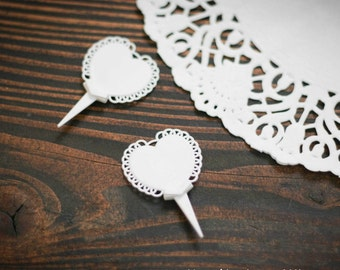 (Cake toppers) scalloped hearts cake picks
